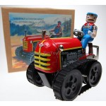 Farmer on Tractor Classic Wind Up Tin Toy