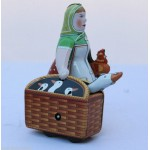 Woman with Goose Wind Up Tin Toy