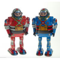 2 Astronaut Clockwork Red & Blue